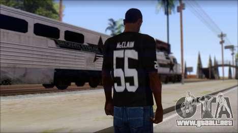 Oakland Raiders 55 McClain Black T-Shirt para GTA San Andreas segunda pantalla