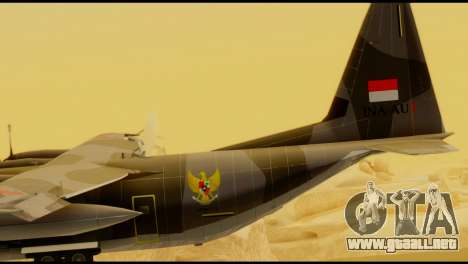 C-130 Hercules Indonesia Air Force para GTA San Andreas vista posterior izquierda