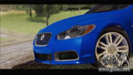 Jaguar XFR v1.0 2011 para GTA San Andreas vista posterior izquierda