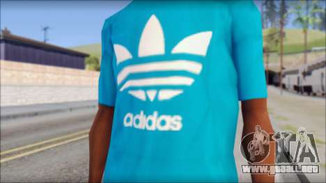 Blue Adidas Shirt para GTA San Andreas tercera pantalla
