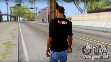 I Love Electro T-Shirt para GTA San Andreas segunda pantalla