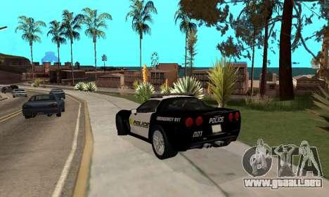 Chevrolet Corvette Z06 Los Santos Sheriff Dept para GTA San Andreas vista posterior izquierda