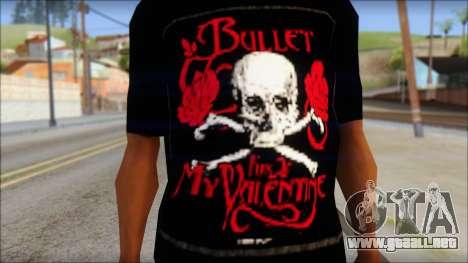 Bullet for my Valentine Fan T-Shirt para GTA San Andreas tercera pantalla