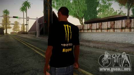 Monster Energy Shirt Black para GTA San Andreas segunda pantalla