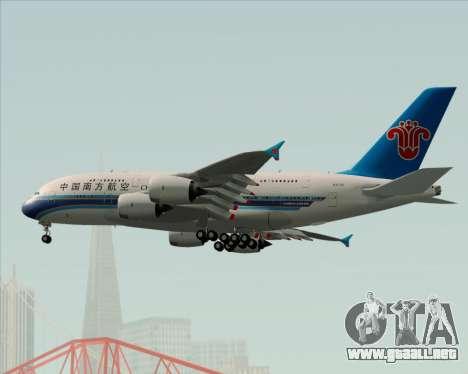 Airbus A380-841 China Southern Airlines para la vista superior GTA San Andreas