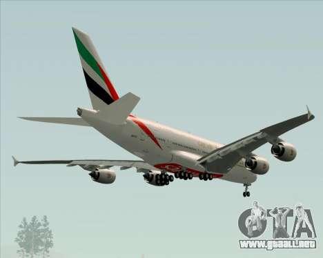Airbus A380-841 Emirates para las ruedas de GTA San Andreas