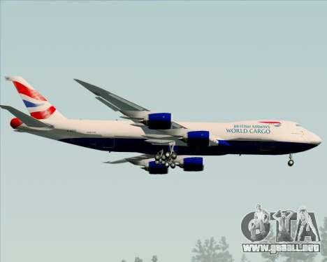 Boeing 747-8 Cargo British Airways World Cargo para GTA San Andreas vista hacia atrás