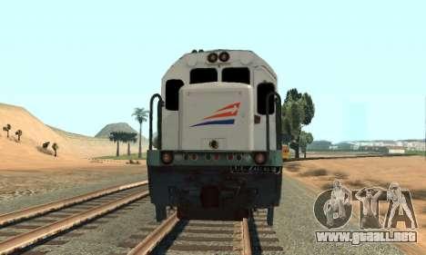 GE U18C CC 201 Indonesian Locomotive para GTA San Andreas vista posterior izquierda