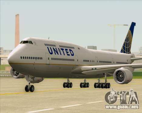 Boeing 747-8 Intercontinental United Airlines para GTA San Andreas vista posterior izquierda