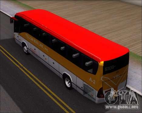 Marcopolo Paradiso G7 1050 Yellow Bus Line A-2 para GTA San Andreas vista hacia atrás