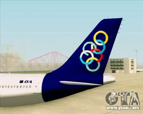 Airbus A330-300 Olympic Airlines para vista inferior GTA San Andreas