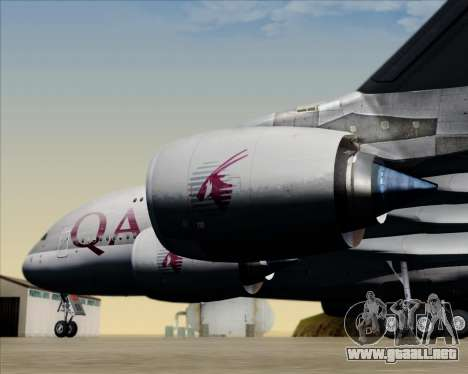 Airbus A380-861 Qatar Airways para vista inferior GTA San Andreas