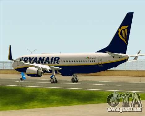 Boeing 737-8AS Ryanair para GTA San Andreas vista posterior izquierda