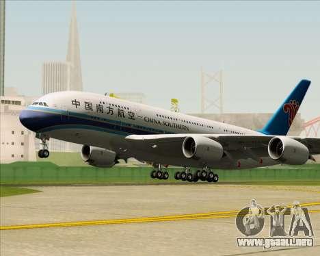 Airbus A380-841 China Southern Airlines para GTA San Andreas vista hacia atrás