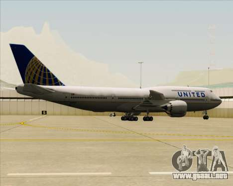 Boeing 747-8 Intercontinental United Airlines para GTA San Andreas vista hacia atrás