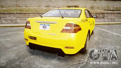 GTA V Vapid Taurus Taxi NYC para GTA 4 Vista posterior izquierda