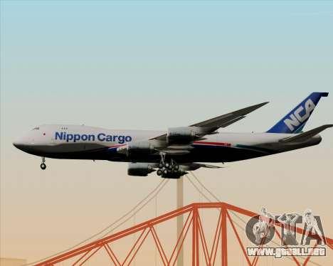Boeing 747-8 Cargo Nippon Cargo Airlines para GTA San Andreas vista posterior izquierda