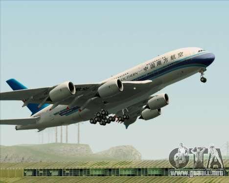 Airbus A380-841 China Southern Airlines para vista inferior GTA San Andreas