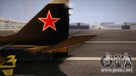 MIG 29 Russian Air Force From Ace Combat para GTA San Andreas vista posterior izquierda