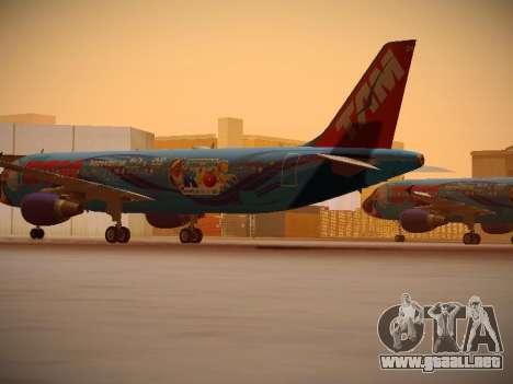 Airbus A320-214 TAM Airlines RIO para GTA San Andreas vista posterior izquierda