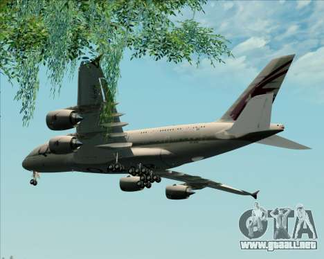 Airbus A380-861 Qatar Airways para visión interna GTA San Andreas