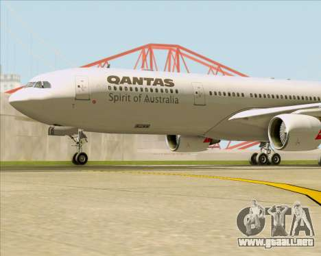 Airbus A330-300 Qantas para vista inferior GTA San Andreas