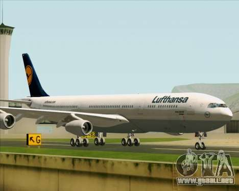 Airbus A340-313 Lufthansa para GTA San Andreas vista posterior izquierda