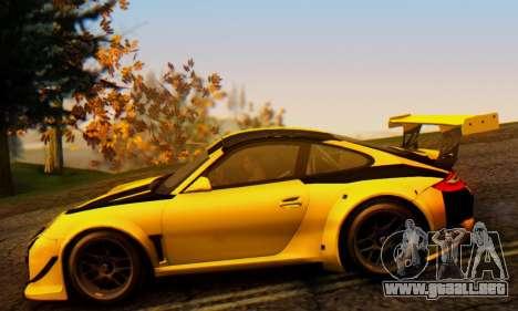 Porsche 911 GT3 R 2009 Black Yellow para GTA San Andreas vista hacia atrás