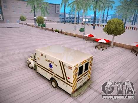 Pierce Commercial Grasonville Ambulance para GTA San Andreas vista posterior izquierda