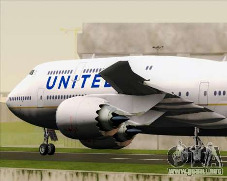 Boeing 747-8 Intercontinental United Airlines para vista inferior GTA San Andreas
