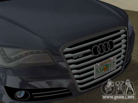 Audi A8 2010 W12 Rim3 para GTA Vice City interior