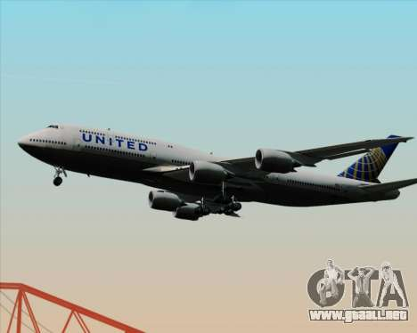 Boeing 747-8 Intercontinental United Airlines para vista lateral GTA San Andreas