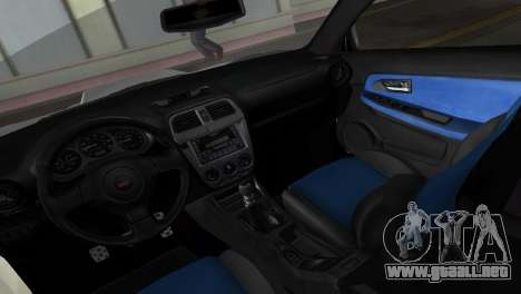 Subaru Impreza WRX STI 2006 Type 1 para GTA Vice City vista interior