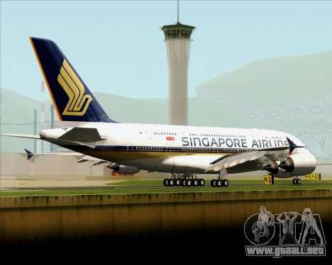 Airbus A380-841 Singapore Airlines para GTA San Andreas vista posterior izquierda