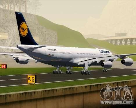 Airbus A340-313 Lufthansa para GTA San Andreas vista hacia atrás