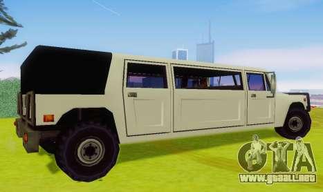 Patriot Limousine para GTA San Andreas vista posterior izquierda