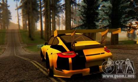 Porsche 911 GT3 R 2009 Black Yellow para la visión correcta GTA San Andreas