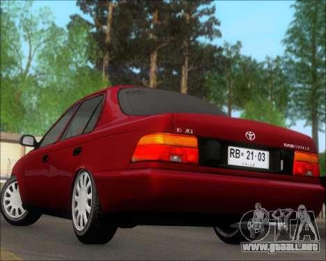 Toyota Corolla 1.6 para vista lateral GTA San Andreas