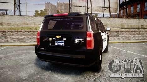 Chevrolet Tahoe 2015 LCPD [ELS] para GTA 4 Vista posterior izquierda