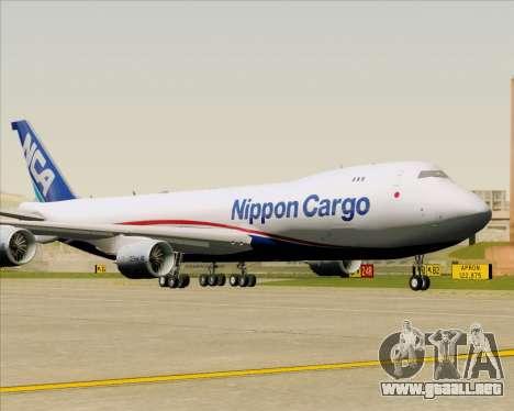 Boeing 747-8 Cargo Nippon Cargo Airlines para GTA San Andreas vista hacia atrás