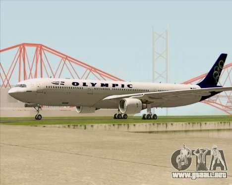 Airbus A330-300 Olympic Airlines para vista lateral GTA San Andreas