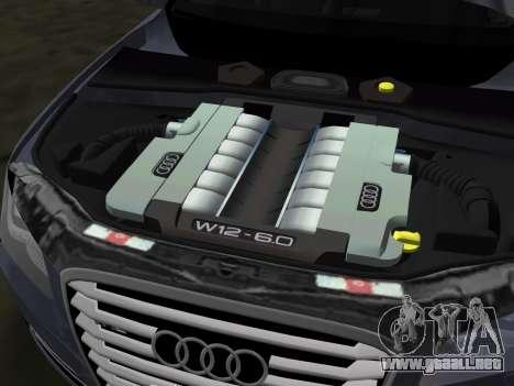 Audi A8 2010 W12 Rim3 para GTA Vice City vista desde abajo