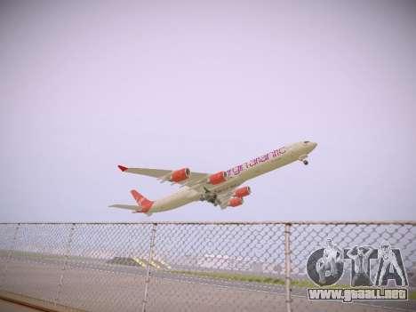 Airbus A340-600 Virgin Atlantic New Livery para GTA San Andreas vista hacia atrás