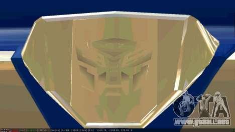 Peterbilt 379 Optimus Prime para GTA San Andreas vista hacia atrás