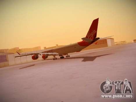 Airbus A340-600 Virgin Atlantic New Livery para GTA San Andreas vista posterior izquierda