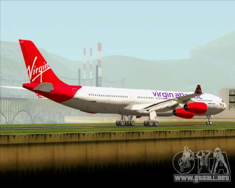 Airbus A340-313 Virgin Atlantic Airways para GTA San Andreas vista posterior izquierda