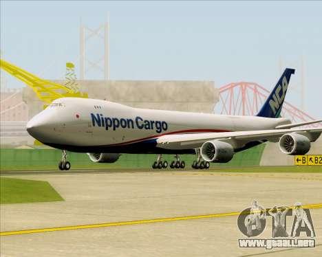 Boeing 747-8 Cargo Nippon Cargo Airlines para GTA San Andreas left