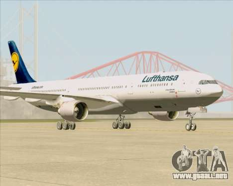 Airbus A330-300 Lufthansa para GTA San Andreas vista posterior izquierda