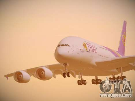 Airbus A380-800 Thai Airways International para vista lateral GTA San Andreas