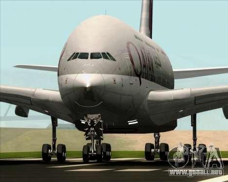 Airbus A380-861 Qatar Airways para GTA San Andreas vista hacia atrás